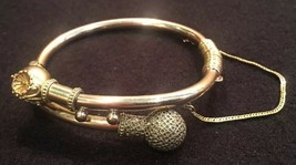 Victorian Gold Plated or Filled Hinged Bangle Bracelet With Safety Chain - $77.24