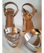 """ZriEy High Heels Peep Toe Platform Shiny Silver Faux Leather 6 """" Party S... - $19.81"""