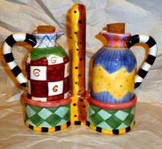 "Bella Casa By Ganz Abstract Oil Vinegar Cruet Set w/ Holder 6 1/2"" Tall - $41.58"