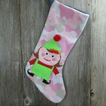 Handmade Pink Camo Fleece Denim Jeans Santa's Elf Christmas Stocking Jum... - $64.34