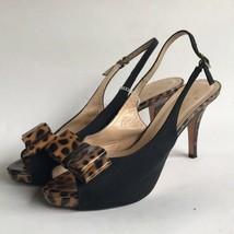 KATE SPADE Womens Leopard Slingback Peep Toe Pumps 8.5B Black  - $54.85