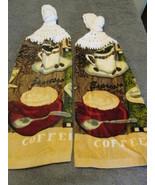 Brand New Crochet Top Kitchen Towels Espresso Coffee White Top - $10.99