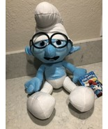 "Smurfs Blue Smurf Brainy Plush Kellytoy 2013 19"" Tall With Glasses A11 - $19.99"