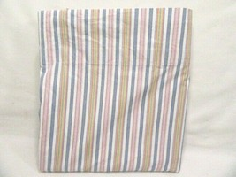 Ralph Lauren Ticking Stripe Blue Red Multi Cotton Percale Queen Flat Sheet - $42.00