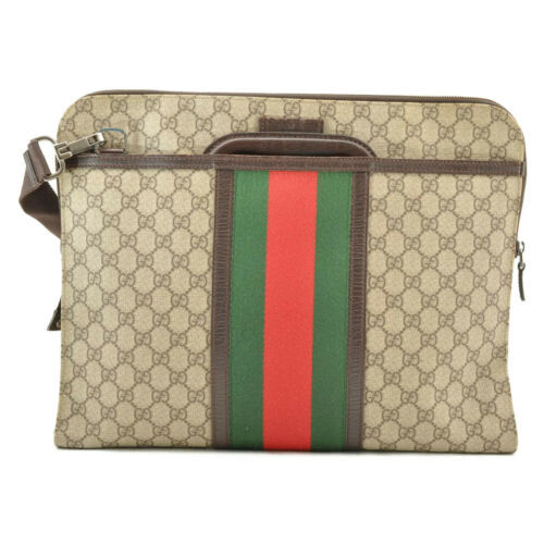 GUCCI Sherry Line GG PVC Leather 2way Hand Bag Red Green Auth 8813