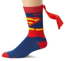 DC Comics SUPERMAN Mens Crew Socks with Capes - New - FATHER'S DAY GIFT - $12.94