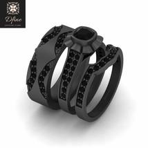 Flower Design Cushion Cut Black Diamond 3Pc Engagement Ring Set Wedding Ring Set - $1,199.99