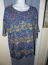 LuLaRoe Irma Blue W/Multi-Color Pasley Floral Print Size M Women's NWOT - $23.20