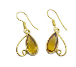 Yellow Gold Plated Glass fine Citrine CZ freely Earring AU gift - $11.47
