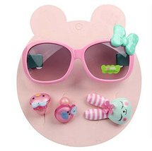 Children Hair Suit Sunglasses Green Bow-knot Style Hairpins and Hair Circle,Pink