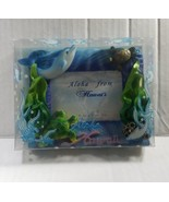 "ALOHA HAWAII PHOTO BLUE FRAME 5"" X 4"" SEA CREATURES DOLPHIN TURTLES ASIA... - $4.89"