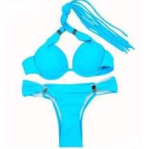 Sexy Halter Fringe Push Up Women Bikini Set - $23.98