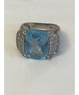 Vintage 925 Blue Rhinestone Ring Size 6.5 - $9.90