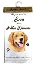 GOLDEN RETRIEVER DOG COTTON KITCHEN DISH TOWEL - $9.99