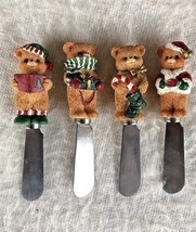 Vintage Christmas Spreaders Set 4 Teddy Bear Party Holiday Serving Knives - $9.90