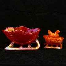 "LARGE 9"" SLEIGH Westmoreland RED SLAG CARNIVAL GLASS Centerpiece Bowl Decoration image 12"