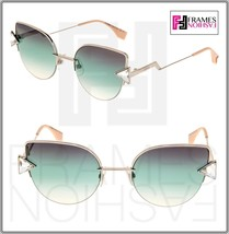 FENDI RAINBOW FF0242S Silver Blue Green Gradient Cat Eye Sunglasses Meta... - $222.75