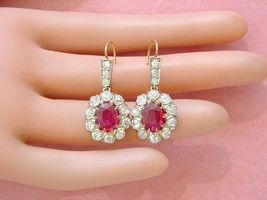 ANTIQUE VICTORIAN 3.35ctw MINE DIAMOND OVAL RUBY DROP COCKTAIL EARRINGS ... - $5,044.05