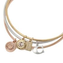 NWT COACH Signature Charm Bangle Bracelet Cuff Jewelry Set Multi Gold F2... - $61.71