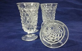 "Vintage Fostoria American Clear Pressed Glass 4 3/4"" Footed Flared Juice Glasses - $84.99"