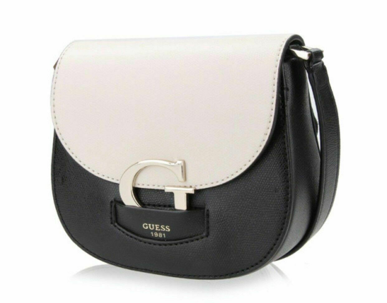 Guess NWT Stone Black Shoulder Hand Bag Lexxi Magnetic Flap Pebbled Gold image 3