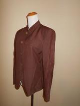 LIZ CLAIBORNE Women Dress Jacket Size 10 Brown Silk Linen Blazer - $19.99