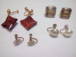 4 pair of Vintage screw on, screw back earrings - $10.50