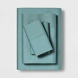 "3pc MADE BY DESIGN Temperature Balancing Solid Sheet Set TEAL- TWIN XL 68""x96"""