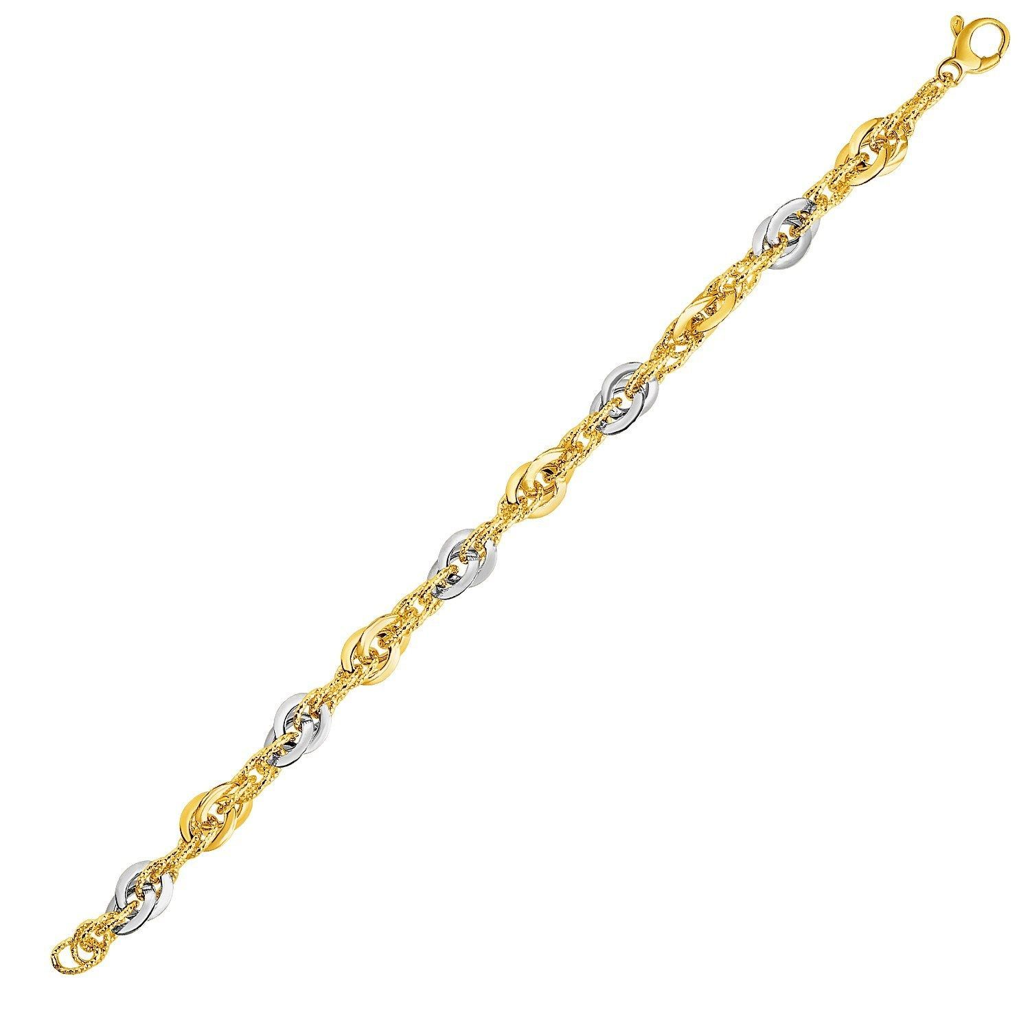 14k Two-Tone Yellow and White Gold Double Link Textured Bracelet