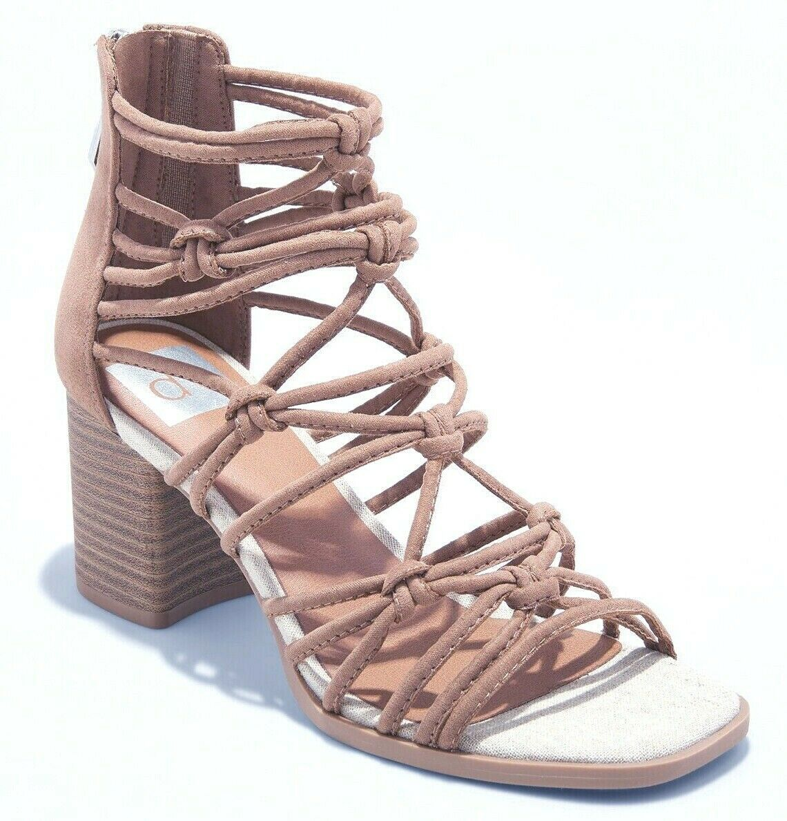 DV Women's Taupe Faux Suede Adira Strappy Knotted Zippered Back Heeled Sandals