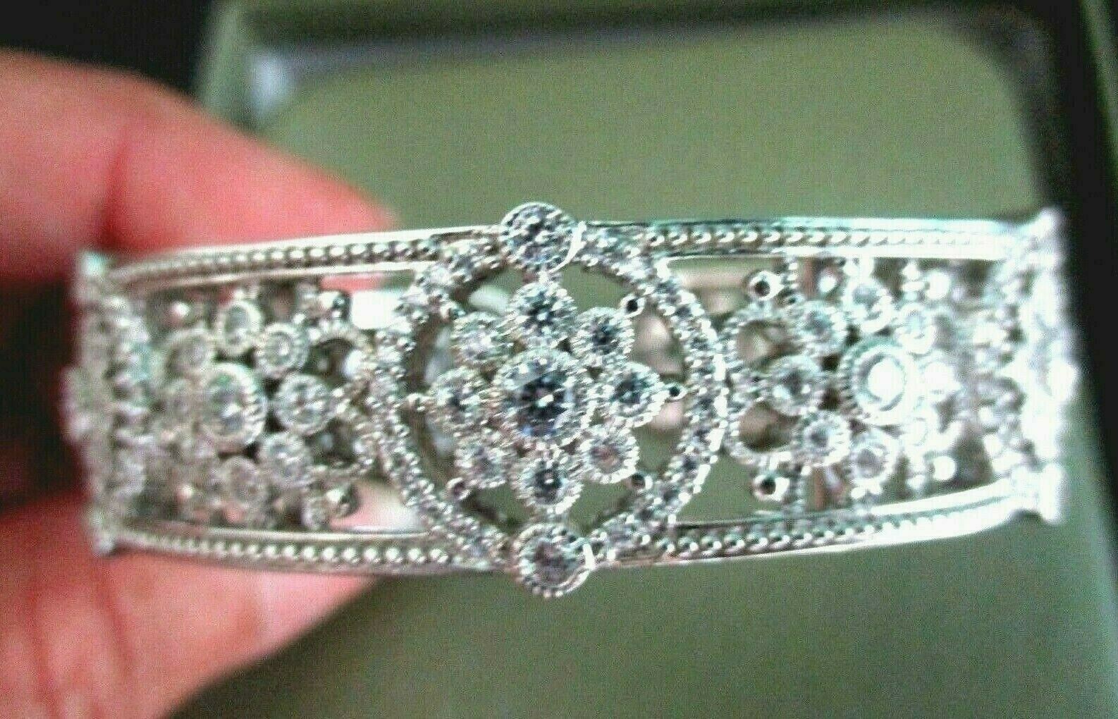 Judith Ripka Sterling Silver Diamonique Floral Hinged Cuff Bracelet AVG JR Box image 3