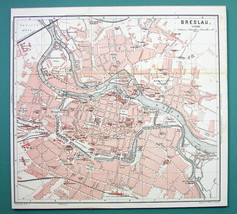 1884 MAP Baedeker - POLAND Wroclaw Breslau City... - $21.78