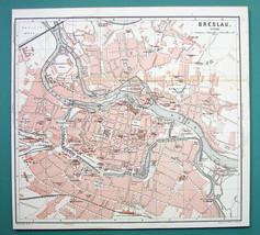 1884 MAP Baedeker - POLAND Wroclaw Breslau City... - $21.78