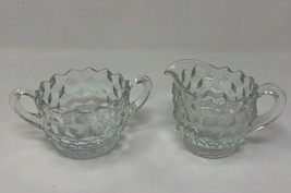 Authentic Fostoria Clear Cubist Sugar Bowl & Creamer Set American (FOSCC) - $14.43