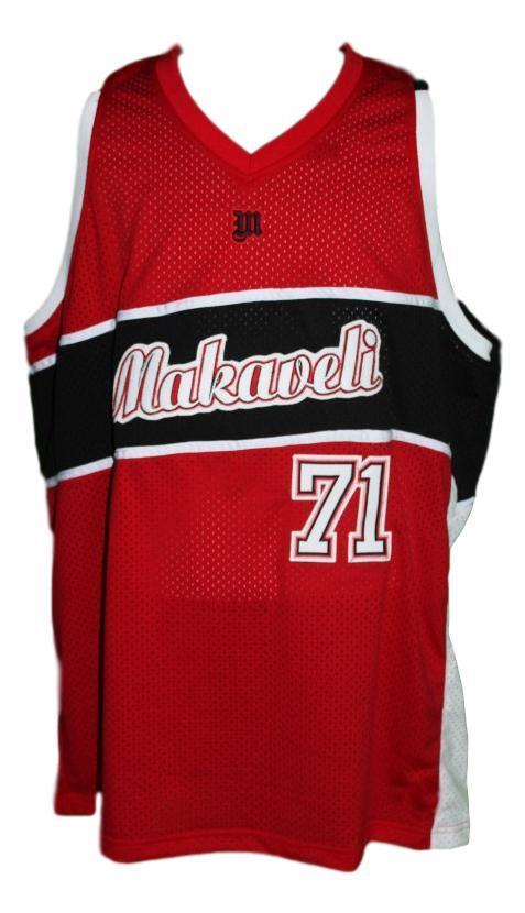 Tupac shakur  71 makaveli hip hop custom basketball jersey red   1