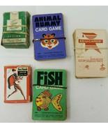 5 Decks of Vintage 1960s Kids Cards Animal Rummy Fish Ed-U-Cards Tom Thumb  - $9.89