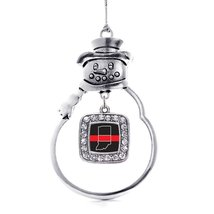 Inspired Silver Indiana Thin Red Line Classic Snowman Holiday Ornament - $14.69