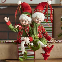 """Raz Imports 16"""" Red and Green Merry Posable Elf Set  - $84.15"""