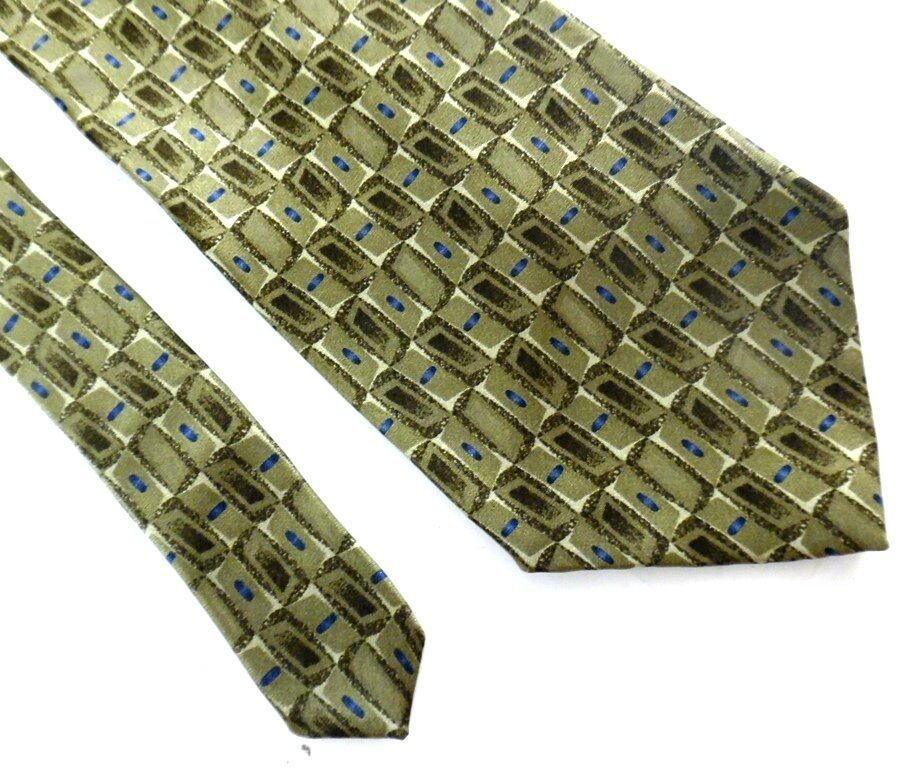 Dockers' Khakis Silk Neck Tie Browns Blue Geometric Design Made in USA
