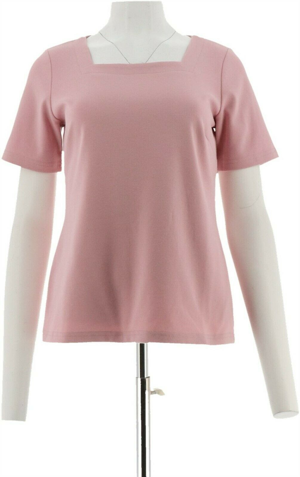 Primary image for Joan Rivers Womens Wardrobe Builders Square Neck Tee Shirt Blush L NEW A275296