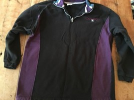 1/4 zip Pullover Champion  athletic  sweatshirt Purple Black Vintage Cot... - $34.19