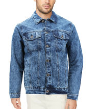 Men's Classic Distressed Casual Button Up Stretch Jean Trucker Denim Jacket image 11