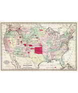 1868 Historic Map Showing Location of Indian Tribes within the US Poster Native - $12.38