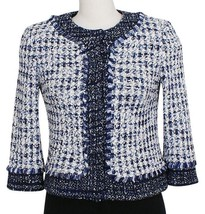 ST. JOHN Midnight White Check Tweed Fringe Trim Cropped Jacket 4 Blue NEW - $499.99