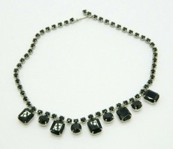 Black Ice Glass Rhinestone Silver Tone Choker Necklace Vintage - $29.69