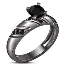 Diamond 14K Black Gold Finish Halo Solitaire Engagement Matching Bridal Ring Set - $76.99