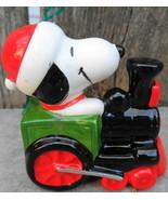 1966 Peanuts Snoopy Ceramic Christmas Ornament Locomotive Train Conducto... - $35.00
