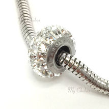 Swarovski European Fit Bracelet Charms Stainless BeCharmed Pave Square Crystal image 7