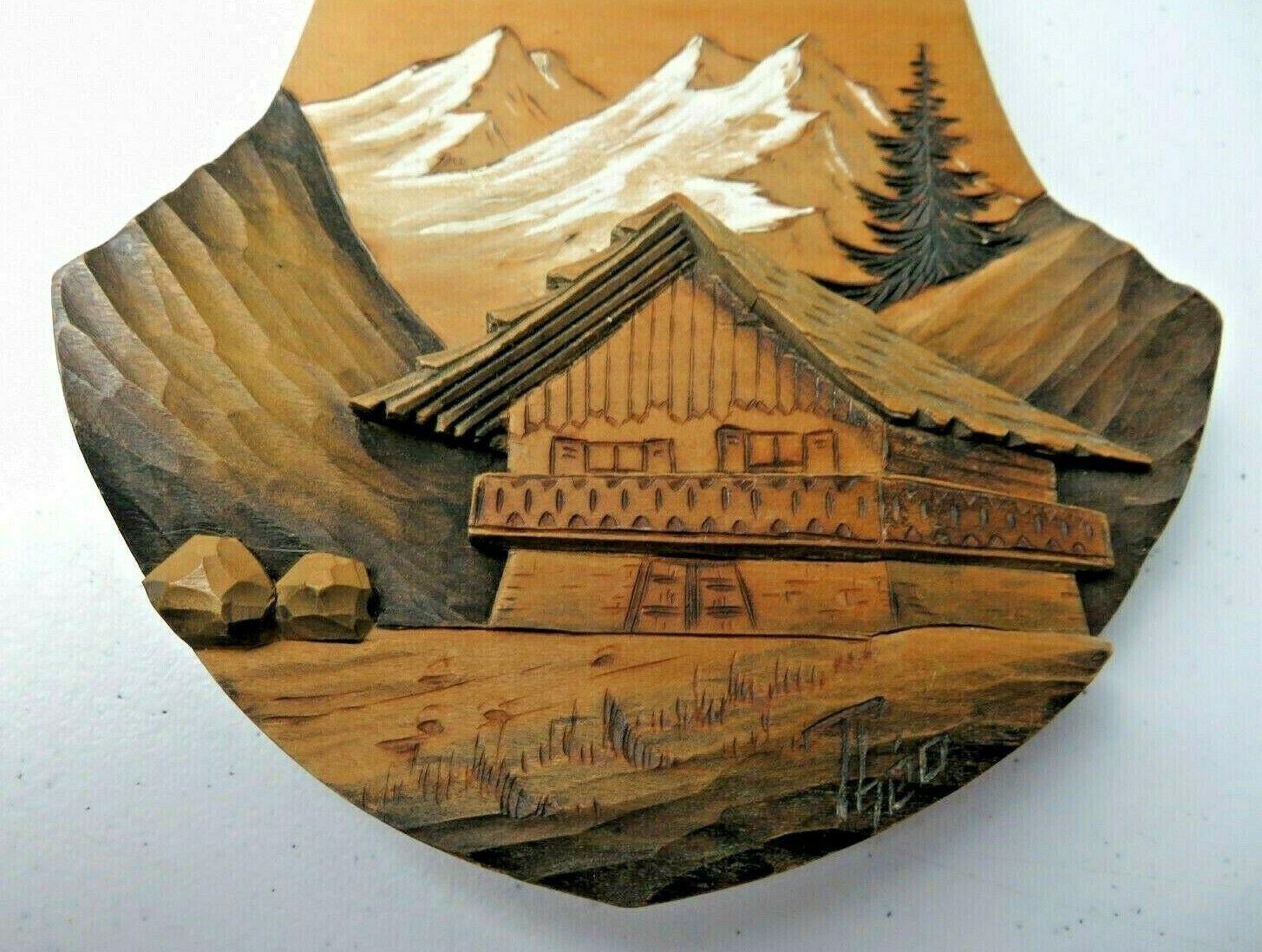 Rare Vintage Swiss or German Wood Wall Sculpture Handpainted signed Barometer