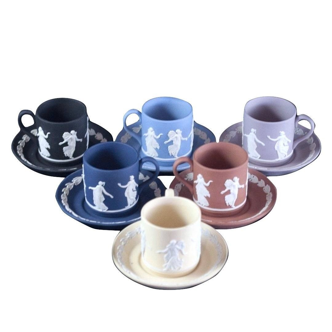 WEDGWOOD ENGLAND NEW BOX DANCING HOURS DEMITASSE CUPS AND SAUCERS SET OF 6